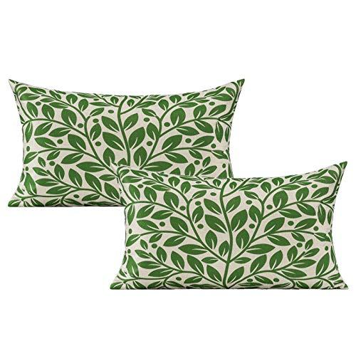 VAKADO 12x20 Inch Set of 2 Green Leaves Lumbar Decorative Cushion Covers Spring Summer Nature Tropical Plants Rectangle Pillow Cases Home Decorations Outdoor for Couch Sofa Patio Bed Car