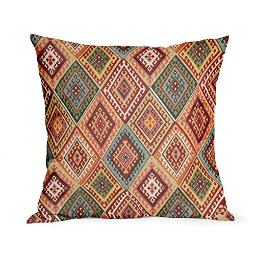 Turkish Carpet Pattern Print Cushion Covers Traditional Turkish Kilim Style Throw Pillow Covers Cotton Decorative Pillowcase Double Sides Pattern 18x18 Decor for Sofa Bedroom Living Room Patio
