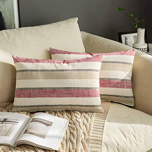 MIULEE Linen Cushion Covers Stripe Throw Pillow Case Square Coastal Home for Sofa Chair Couch Livingroom Bedroom Neutral Decorative Pillowcase 12x20inch 30x50cm Pack of 2 Red and Brown