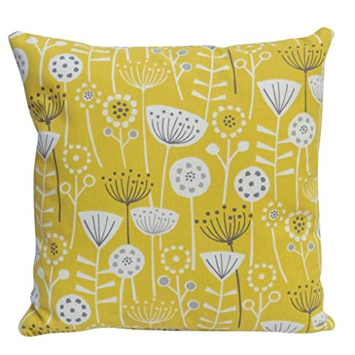 Scandinavian Style 100% Cotton Cushion Cover. Bold Ochre Yellow and Grey/Black Geometric Floral Design. 17' x 17' Square Decorative Scatter Pillowcase.