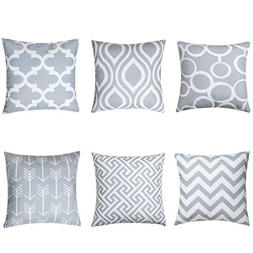 QUALKNOY Cushion Covers Grey Geometric Throw Pillow Cover Soft Square Decorative Throw Pillow Case For Living Room Sofa Couch Bed Pillowcases With Invisible Zipper 45 x 45 cm 18'' x 18'' Set of 6