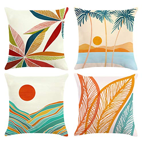 Bonhause Modern Tropical Cushion Covers 18 x 18 Inch Set of 4 Mountains Palm Tree Decorative Throw Pillow Covers Soft Velvet Pillowcases for Sofa Couch Car Bedroom Indoor Outdoor Decor, 45cm x 45cm