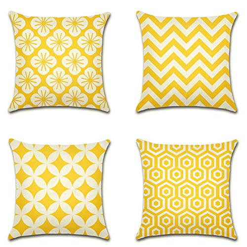 Artscope Geometric Cherry Blossoms Cushion Covers, Set of 4 Japanese-style Throw Pillow Covers Cases for Sofa Couch Car Farmhouse Home Decor 45x45cm Yellow