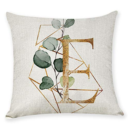 VIGVOG Custom 26 Letter Alphabet Flower Tree Leaf Pillow Case - Pillow Cushion Cover Square Pillowcase - 18 inchx18 inch - EASY TO WASH - Sofa Waist Bed Home Decor (E)