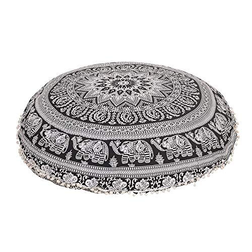 32' Floor Pillow Meditation Bohemian Black White Cushion Seating Throw Star Mandala Hippie Decorative Indian Large Ottoman Outdoor Home Decor Cases Round Sham Cotton Elephant Animal Pouf (Cover Only)