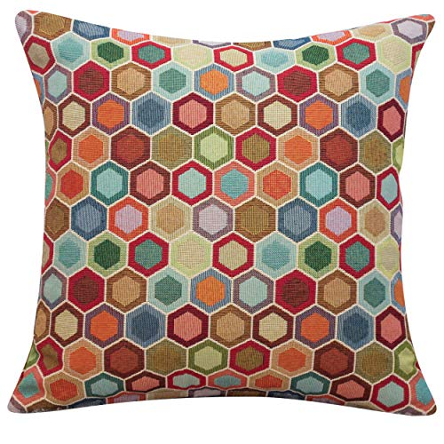 Multicoloured Geometric Honeycomb Tapestry Cushion. Double Sided. 17x17' Square Pillow Case Cover. Heavyweight fabric. Bright abstract geometric design. (43cm x 43cm Cover only)
