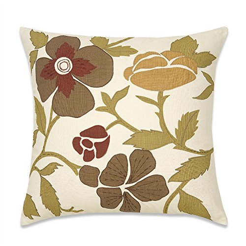 Floral Cushion Cover Retro Appliqué Traditional Embroidery Couch Sofa Decorative Pillowcase 45X45cm Textured Cotton Slub Satin Accent Printed Green/Brown/Burgundy Blooming Flowers Pillow Cushion Shell