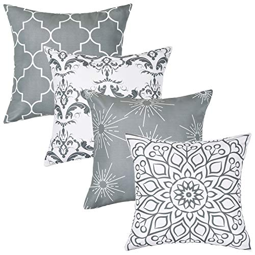 Alishomtll Geometric Pillowcases Cushion Covers 20x20 Inches Soft Plush Throw Pillow Covers 50cm x 50cm Polyester for Sofa Bedroom Set of 4pcs, Grey