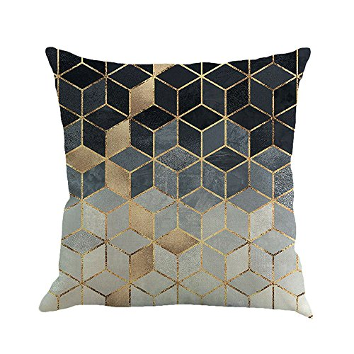 Watopi Geometric Cushion Cover, Black Gold Contemporary Stylish Pillow Case,Pink Gold Throw Pillow Cover,45cm x 45cm, For Home Sofa Bed Decorative