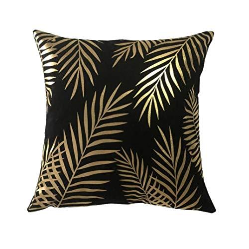 Zodiark Cushion Cover in Black Velveteen with Gold Metallic Print Palm Leaf Pattern 45x45cm