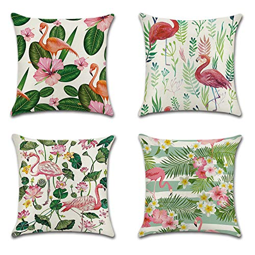 JOTOM Cushion Covers Decorative Square Throw Pillow Cover Sofa Car Pillowcase for Outdoor Home Bed Decor 45cm x 45cm,Set of 4 (Flamingo and Tropical Flowers)