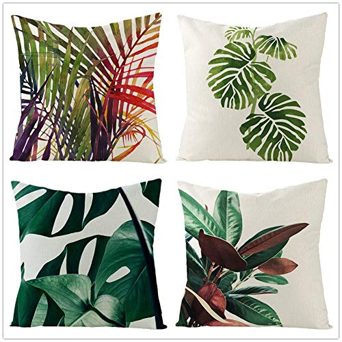 4 Pack Cushion Covers Tropical Leaves Square Cotton Linen Throw Pillow Case with Invisible Zipper for Home Office Couch Livingroom Sofa Car Bed Decorative Cushion Cover Case Pillowcase,35x35cm Y3663