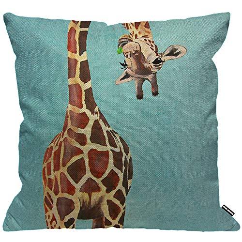 HGOD DESIGNS Cushion Cover Funny Giraffe Licking Head Blue,Throw Pillow Case Home Decorative for Men/Women Living Room Bedroom Sofa Chair 18X18 Inch Pillowcase 45X45cm