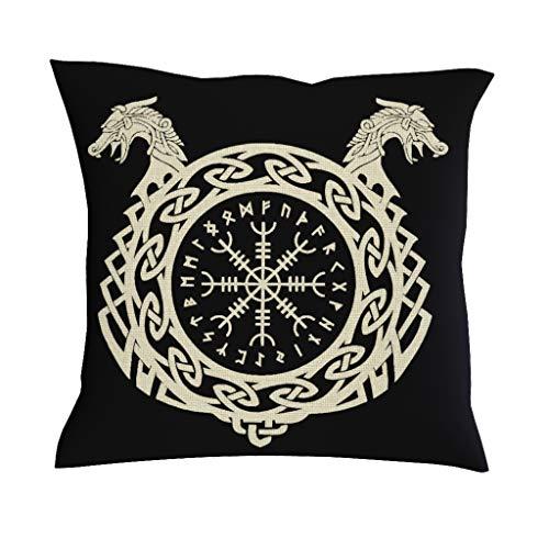 Monochrome Viking Helm Of Awe Sketched Artwork Print Pillowcase Throw Viking Runes Keltic Norse Dragon Symbol Cushion Cover Decorative Scandinavian Throw white 18 x 18