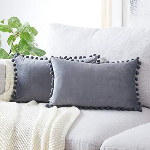 Topfinel Dark Grey Oblong Cushion Covers 12x20 Inch Velvet Soft Decorative Throw Pillowcase for Office Sofa Bedroom 30cmx50cm,Pack of 2