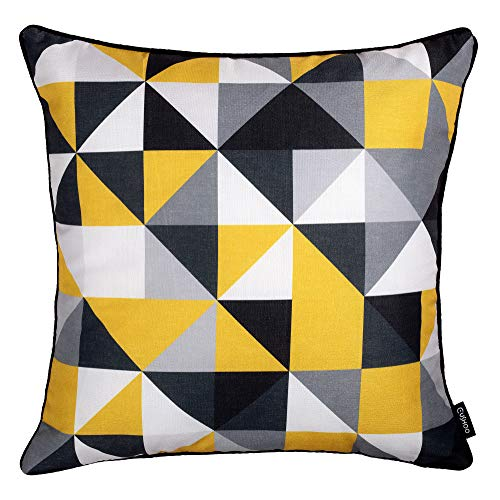 Cushoo Modern Geometric Cushion Cover in Mustard Yellow, Grey, Black and White   Square Decorative Scatter Pillow Case for Sofa   45cm x 45cm   18in x 18in