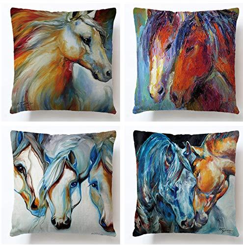 JZZCIDGa Painting Horse Cushion Cover, Cotton Linen Linen Office Sofa Hug Pillowcase 4 Piece Set Home Bedroom Sofa Bed Car Square Cushion Cover 45 X 45Cm