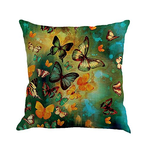 Watopi Butterfly Painting Cushion Cover, Teal, Flax Pillowcase, Vintage, 1 PC 45cm *45cm, for Sofa/Couch/Bed/Car, (F)