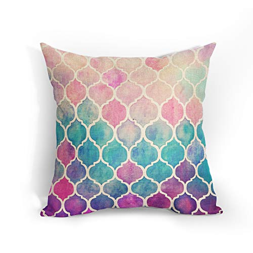 Moroccan Quatrefoil Geometric Cushion Covers 18x18 Inch Soft Cotton Linen Pink Pillow Case Blue Purple Gold Home Decor Cushions Cover Gift for Women/Girls Outdoor Bedroom Couch Sofa Living Room