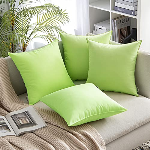 MIULEE Pack of 4 Outdoor Waterproof Throw Pillow Cover Home Pillow Case Decorating Cushion Covers Protectors for Tent Park Bed Sofa Chair Bedroom Decorative Pillowcases 45x45cm 18x18inch Green