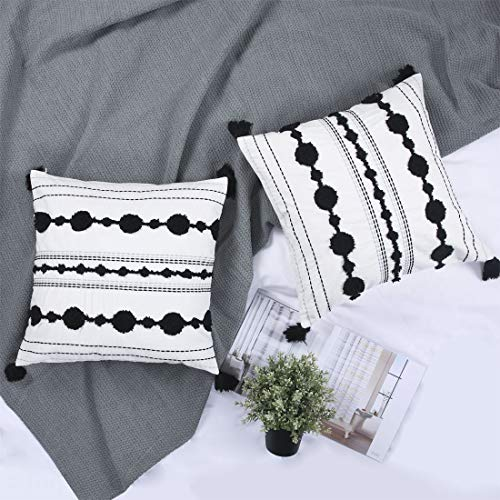 Chlophy Boho Cushion Covers 18x18 45x45CM Set of 2 Black and White Tufted Textured Sofa Cushion Cases Tassel Farmhouse Modern Off White Decorative Accent Beige Ivory