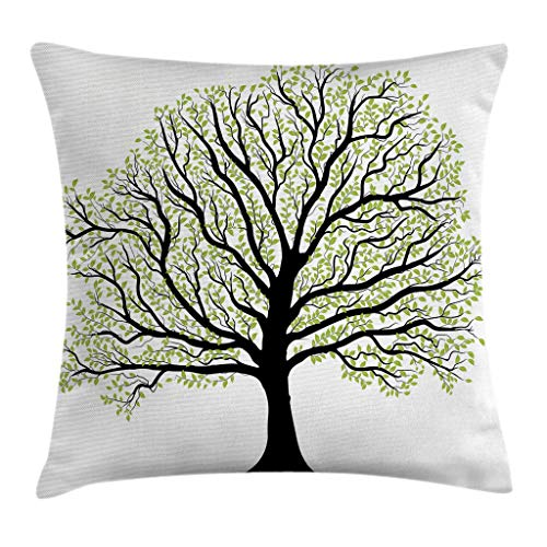 Ambesonne Tree of Life Throw Pillow Cushion Cover, Big Old Lush Tree with Lot of Leaves and Branches Nature Growth Eco Art, Decorative Square Accent Pillow Case, 26 X 26 Inches, Black White Green