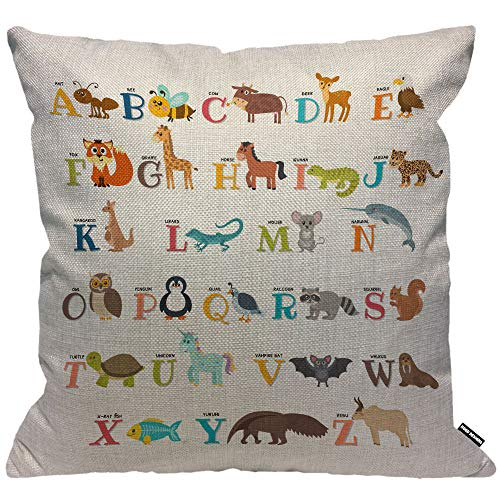 HGOD DESIGNS Cushion Cover Alphabet Cute Zoo Alphabet with Animals Throw Pillow Cover Home Decorative for Men/Women/Boys/Girls Living Room Bedroom Sofa Chair 18X18 Inch Pillowcase
