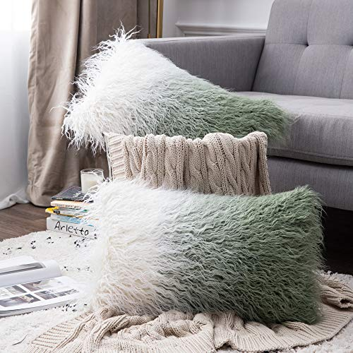 MIULEE Gradual Change Fluffy Soft Decorative Square Pillow Covers Plush Pillow Case Faux Fur Cushion Covers For Livingroom Sofa Bedroom 12 X 20 Inch 30 X 50 cm 2 Pieces Green