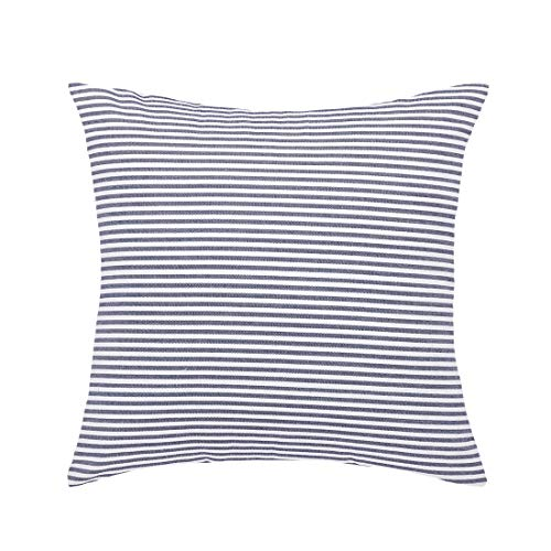 sourcing map Blue and White Woven Striped Lumbar Throw Pillow Cover 18 X 18 Inches Decorative Cushion Covers Square Farmhouse Pillow Case for Sofa Bedroom Car Chair