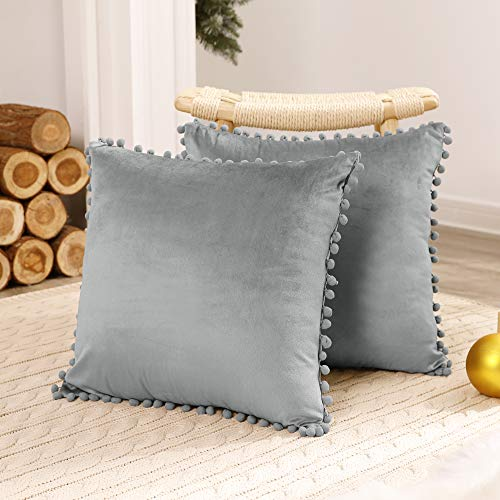 Deconovo 2 Pack Decorative Pom Pom Crushed Velvet Cushion Covers 24x24 Inches Large Throw Pillowcases for Sofa Livingroom Kids with Invisible Zipper 60cm x 60cm Charcoal Grey
