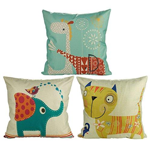 Luxbon Set of 3 Pcs Lovely Animal Cushion Covers 18x18 Elephant Cat Giraffe Sofa Throw Pillowcase 45x45cm Cotton Linen Cushion Case Covers for Children Window Seat Kid's Room Home Decors
