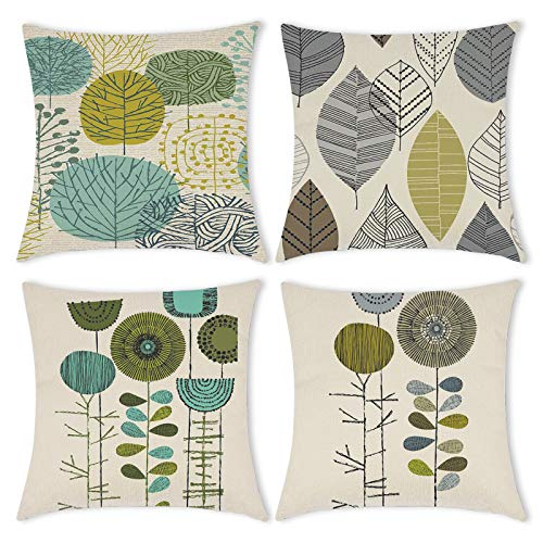 Carttiya Cushion Cover 18 x 18 Inch, Square Throw Pillow Case 45 x 45 cm Set of 4, Green Leaf Dandelion Plants Soft Cotton Linen Home Decor Christmas New Year Pillowcases for Living Room Sofa Bedroom