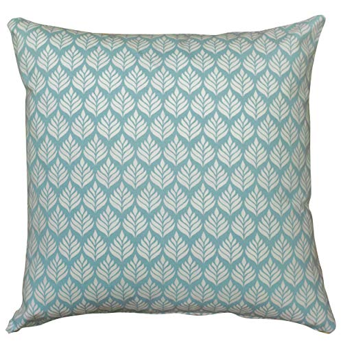 Linen Loft Extra Large Scandi Minimalist Leaf Cushion Cover. Double Sided, 23' (58cm) Square Pillow. 100% Cotton. Duck Egg Mineral Blue. Scandinavian Style.