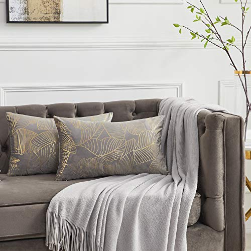 OMMATO Grey Velvet Cushion Covers 30cm x 50cm Rectangle Gold Leaves Decorative Throw Pillow Covers 12 x 20 inch for Sofa Bedroom Living Room Pack of 2