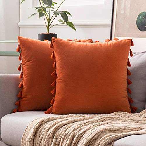MIULEE Halloween Velvet Tasseled Cushion Covers Bohemian Indian Embroidered Square Throw Pillow Case Pillowcases for Couch Livingroom Sofa Bed with Invisible Zipper 18x18 inch 45x45cm 2Pieces Orange