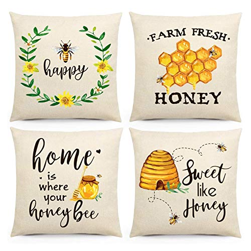 Bee Cushion Covers 18X18 Pillow Covers Square Print Cushion Covers with Zipper Cushion Covers Replacement for Office Chair Sofa Seat,Pack of 4