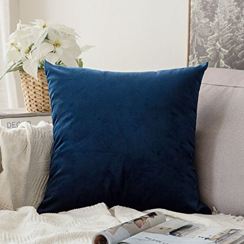 MIULEE Velvet Soft Decorative Square Throw Pillow Case Cushion Covers Pillowcases for Livingroom Sofa Bedroom with Invisible Zipper 26'x26' 1 Piece Navy
