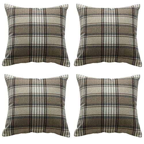 ZBW Impex - Pack of 4 - Tartan Check Plaid Cushion Covers Striped Decorative Pillowcase For Home Sofa Bedroom Living Room 18 x 18 inch (Brown)