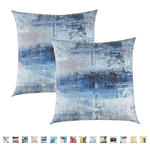 Pretty Jolly Abstract Art Throw Pillow Covers Gallery Modern Artwork Decorative Pillow Cushion Cover Short Plush Pillow Cases for Bedroom Sofa Living Room 18 x 18 Inch Set of 2 (Blue and Grey)