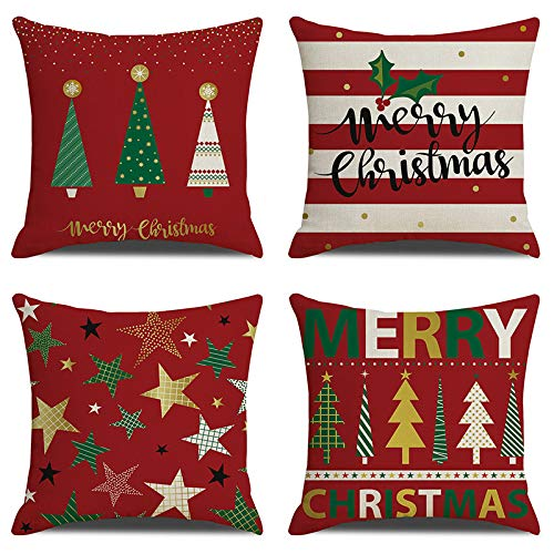 Anbaituor Christmas Cushion Cover - 4 Pack Cotton Linen Red Decorative Christmas - Throw Pillow Case Cushion for Sofa Living Room Bed Couch Car Square Pillowcase, 18 by 18 (Xmas tree-Red)