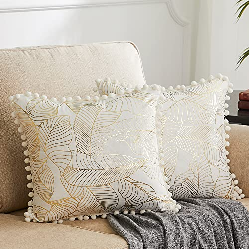 OMMATO Cream Velvet Cushion Covers 18x18 Inch Square Gold Leaves Decorative Throw Pillow Covers for Sofa Living Room Bedroom 45cm x 45cm Pack of 2