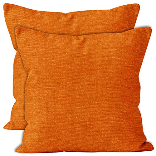 Encasa Homes Chenille Cushion Covers 2 pcs Set - Orange - 60 x 60 cm Textured Solid Colour, Soft & Smooth, Square Accent Decorative Cushion for Couch, Sofa, Chair, Bed & Floor