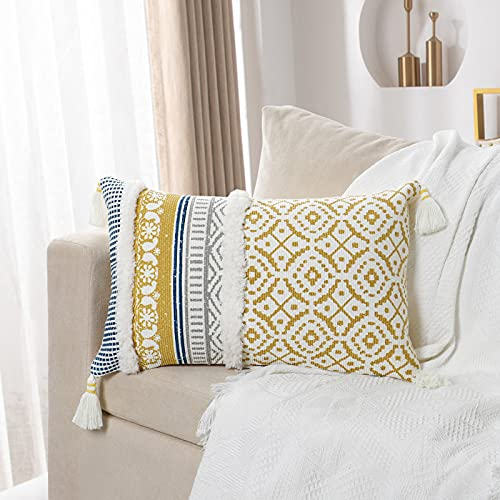 Dremisland Morocco Tufted Boho Pillow Covers - Lumbar Throw Pillow Cases Woven Pillowcase Cushion Cover for Sofa Couch Bedroom Car Living Room with Invisible Zipper 30x50cm (Yellow, 12 x 20 Inches)