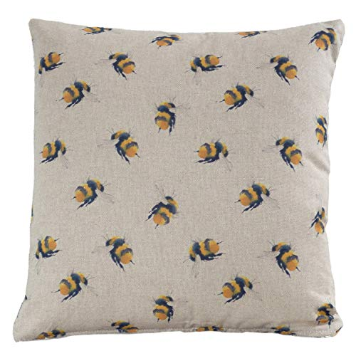 Cute Bumble Bee Double Sided Cushion Cover. Linen-feel fabric. 17'x17' (45cm) Square Pillow Case Cover. Dainty Honeybee Yellow and Black. Handmade in the UK.