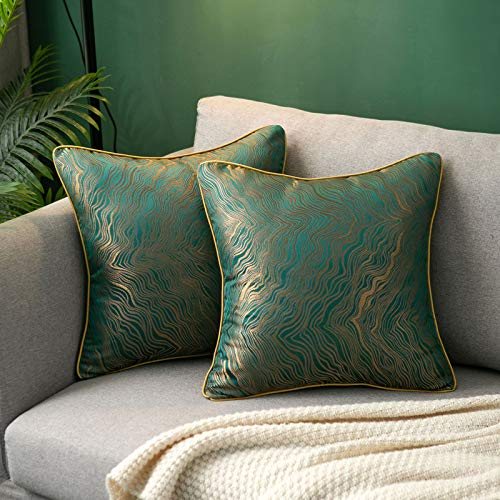 Hanrunsi Green Cushion Covers Pack of 2 Decorative Cushions 45cm x 45cm Embroidery Cushion Cases Square Pillow Cases for Sofa Couch Living Room Bedroom Car