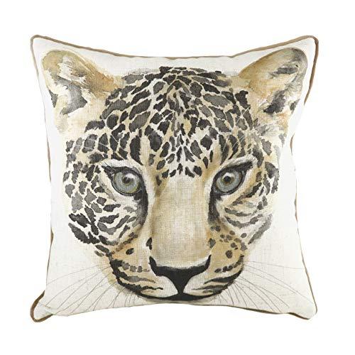 Evans Lichfield Safari Leopard Cushion Cover, White, 43 x 43cm