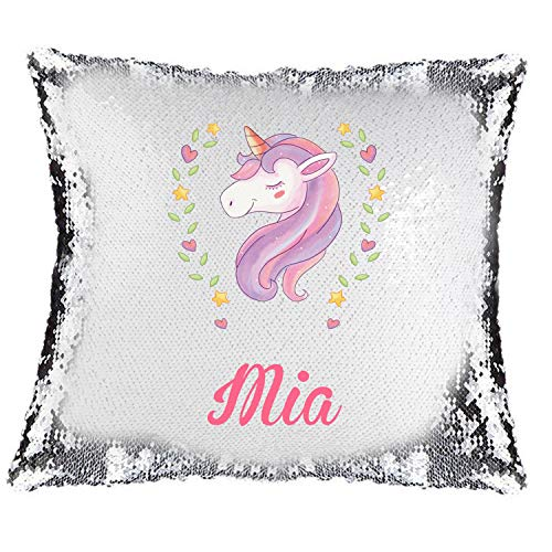 Active Decor Magic Reveal Sequin Cushion Cover a PERSONALISED Pillow, Bespoke Custom Made Xmas (Pink Unicorn)