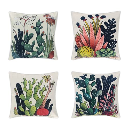 SJEhome Outdoor Cushion Covers Set 45x45cm, Tropical Plants Cactus Flax Throw Pillow Covers 18x18in, Perfect Decor for Outdoor Patio,Garden Bench, Living Room Sofa,Farmhouse