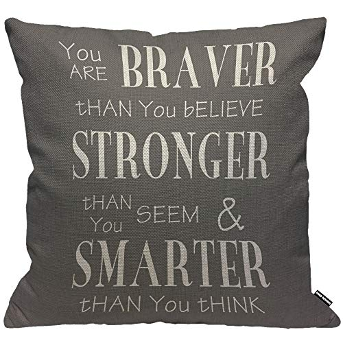 HGOD DESIGNS Inspirational Life Quotes Cushion Cover,You are Braver Than You Believe Grey White Throw Pillow Case Home Decorative for Living Room Bedroom Sofa Chair 18X18 Inch Pillowcase 45X45cm