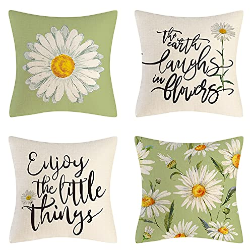 Faux Linen Pillow Covers 18x18 inch Set of 4 Daisy Quote Floral Cushion Covers Mint Green Decorative for Living Room Sofa Bedroom, Outdoor Scatter Cushions